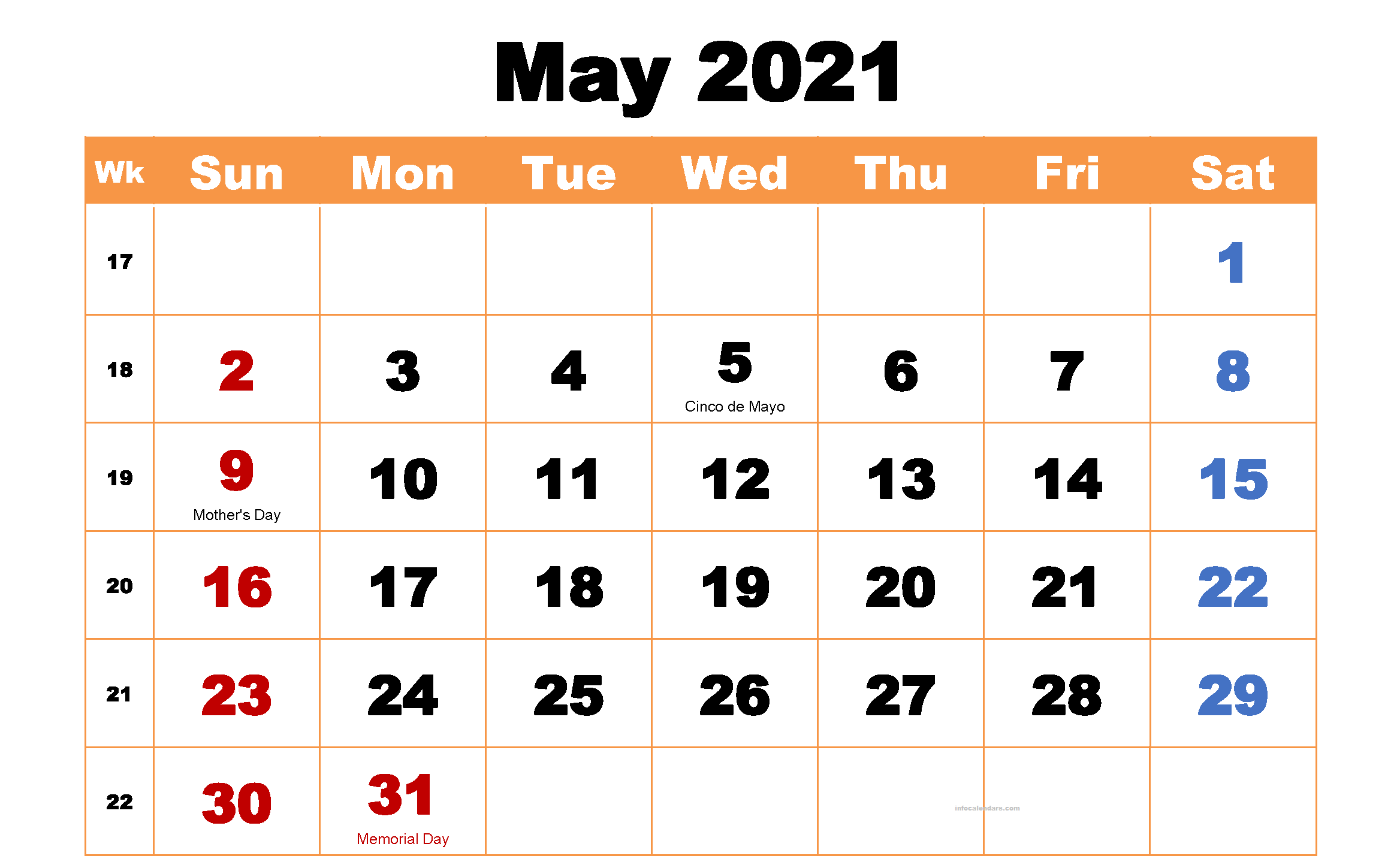 May 2021 Calendar Monthly