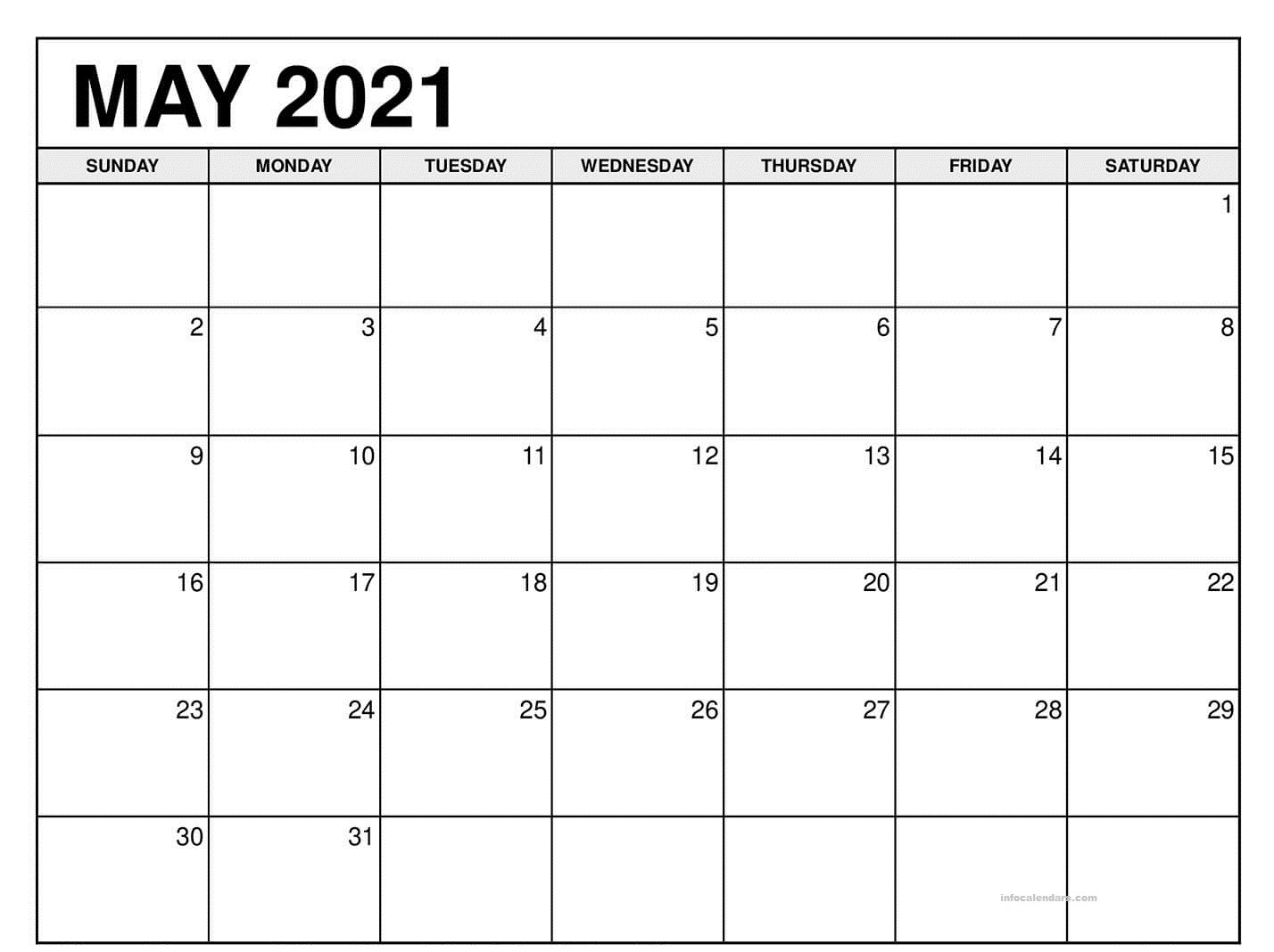 May 2021 Calendar With Holidays Images