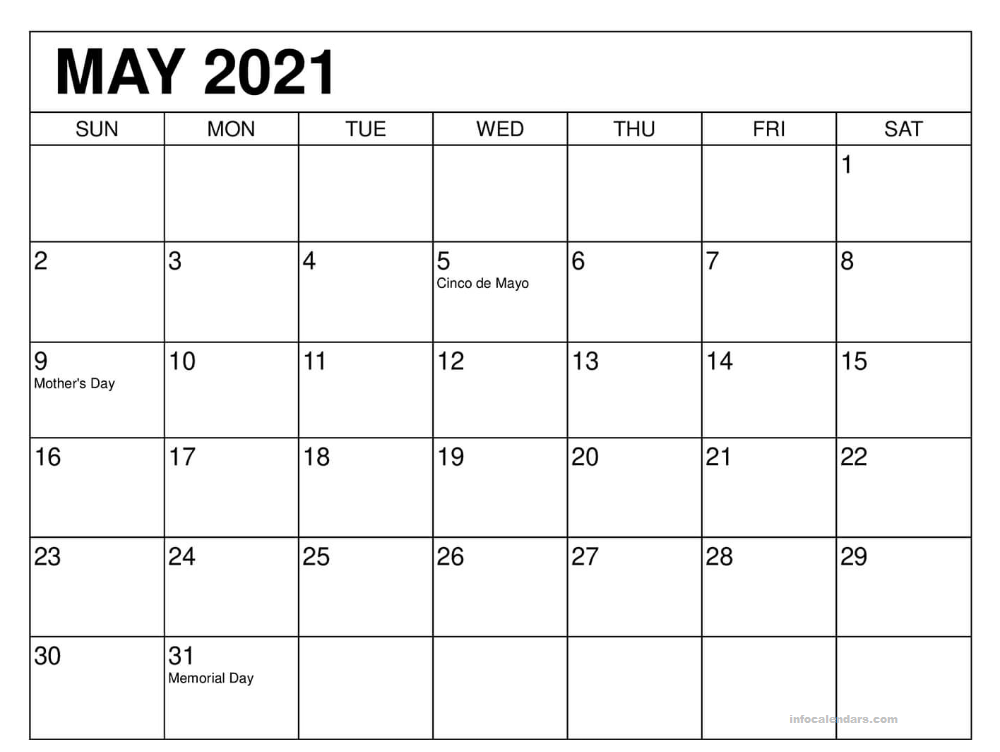 May 2021 Calendar With Holidays Paper