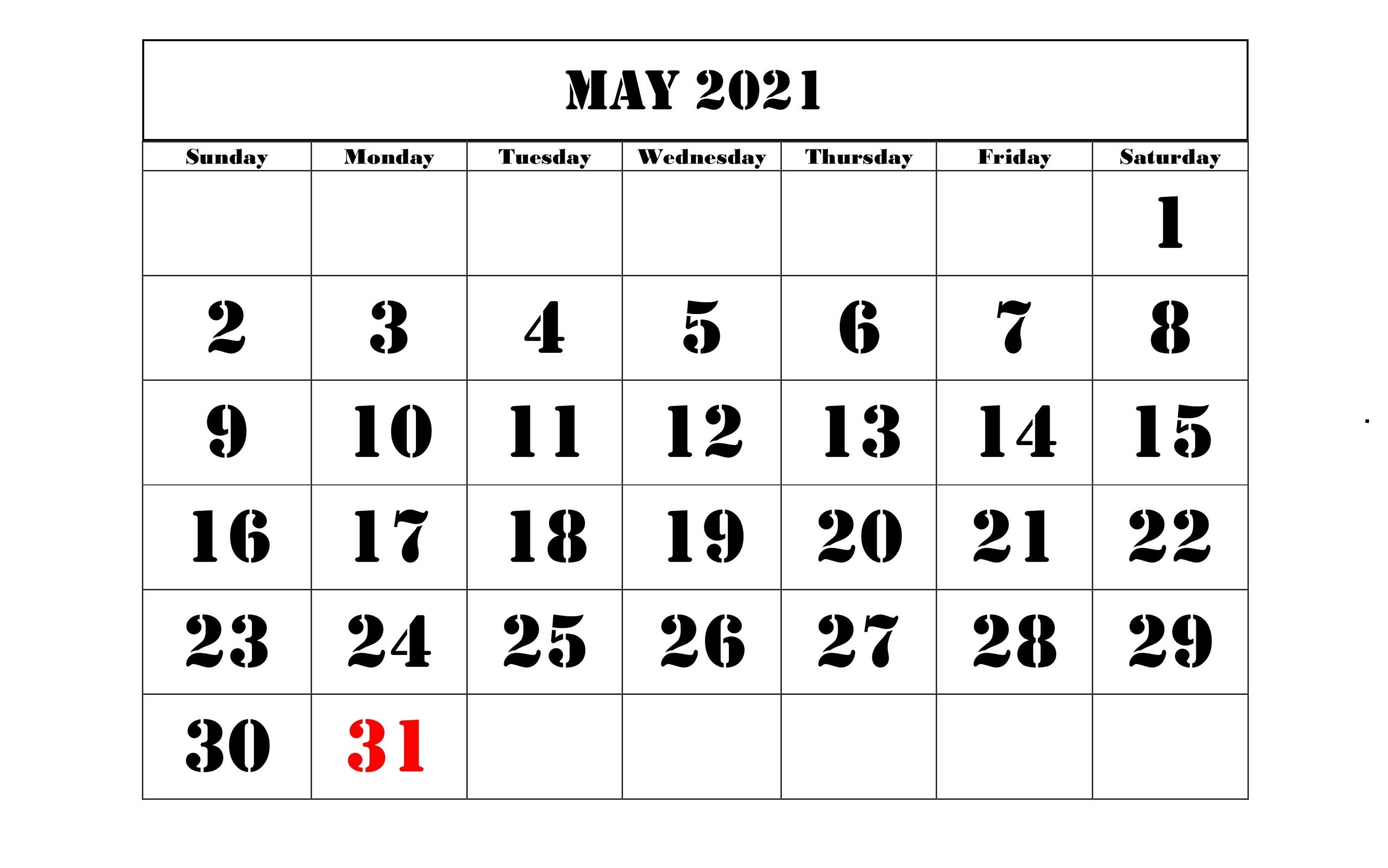 May 2021 Calendar Word Sheet