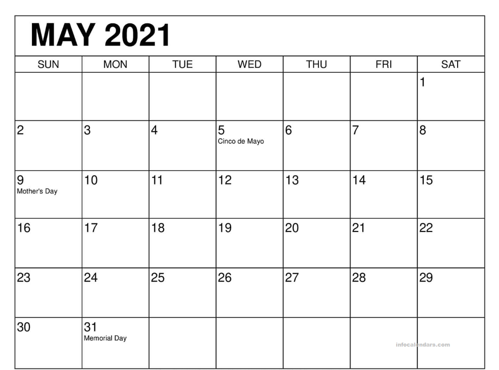 May 2021 Calendar Word with Holidays