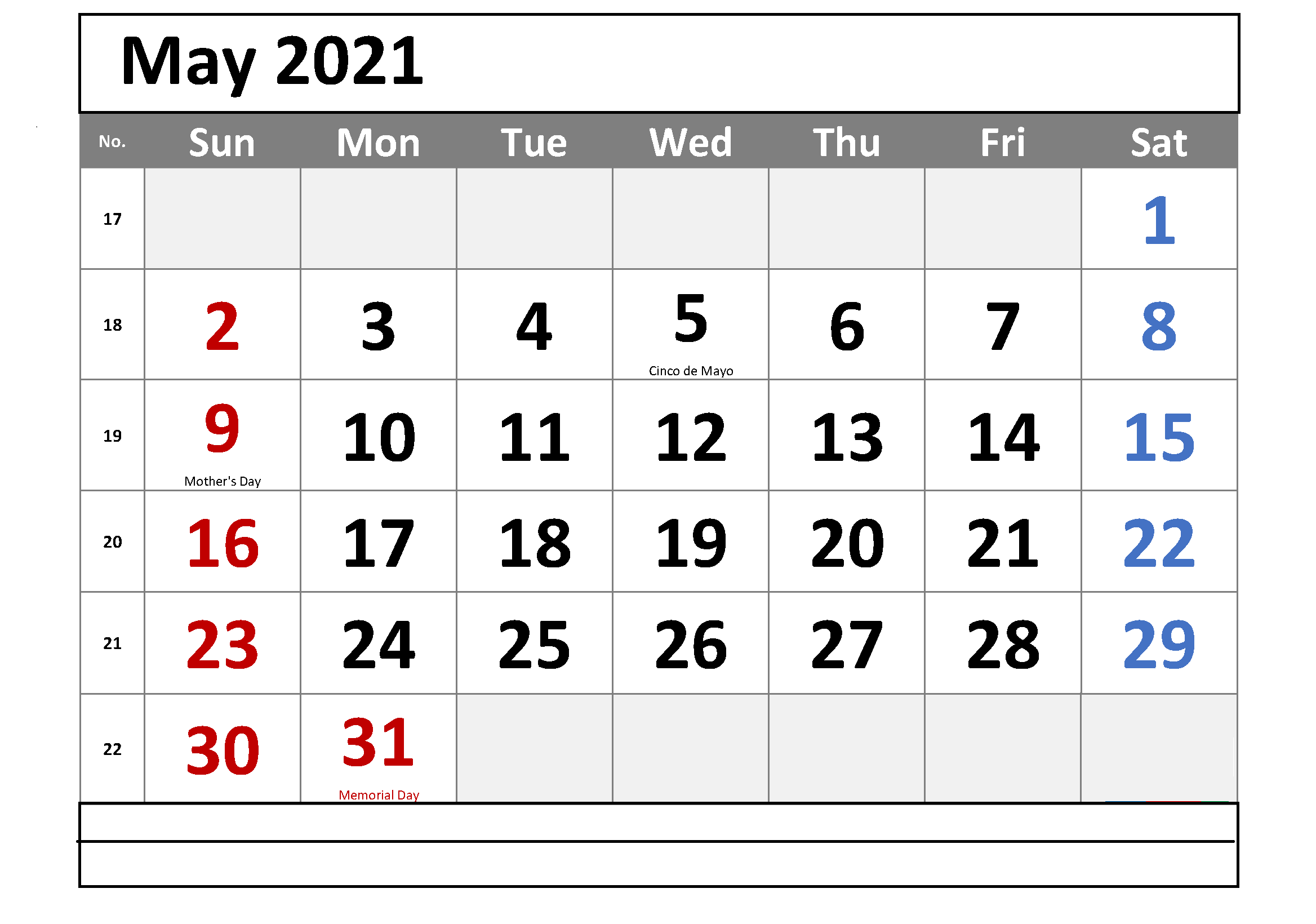 May 2021 Editable Calendar Images