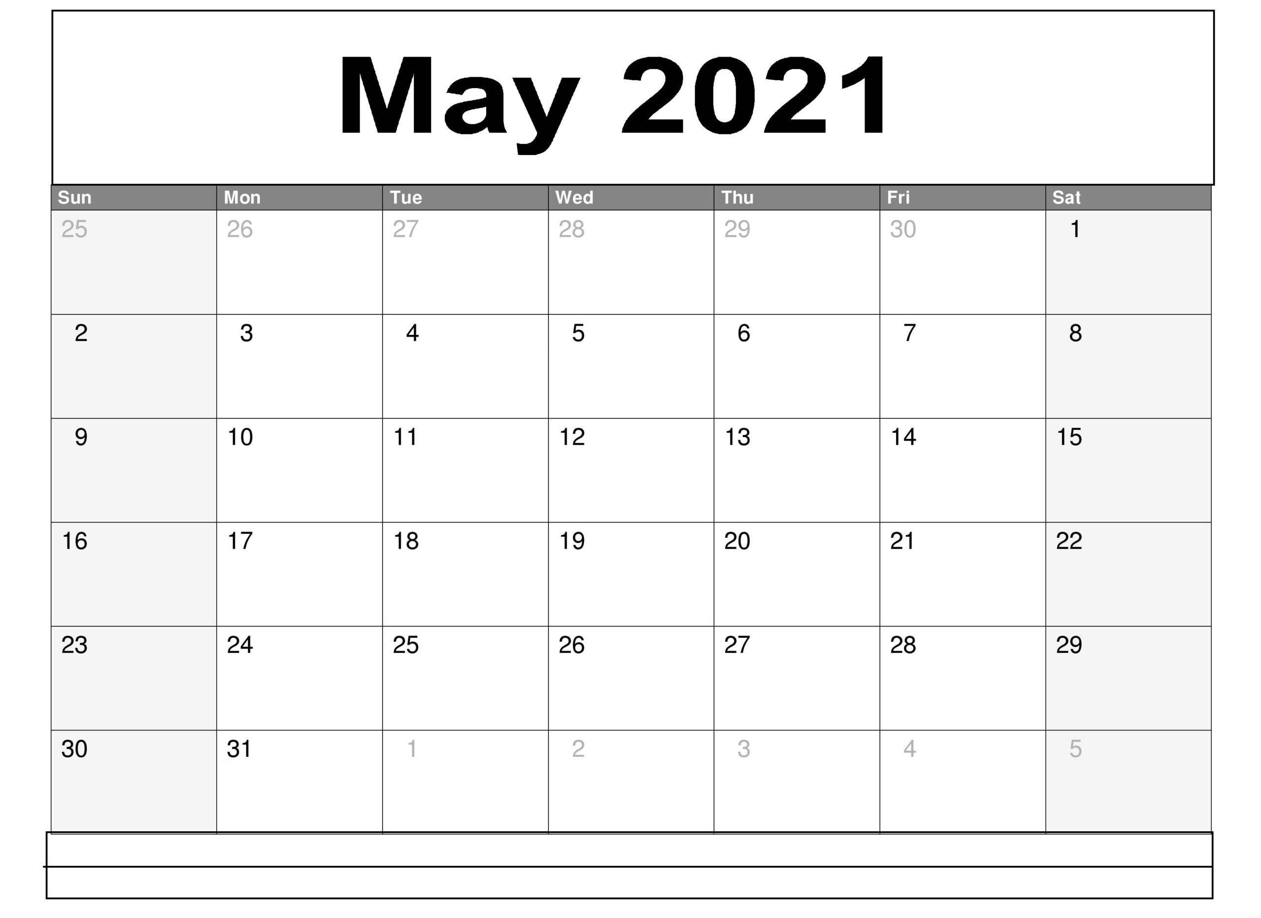 May 2021 Editable Calendar With Note