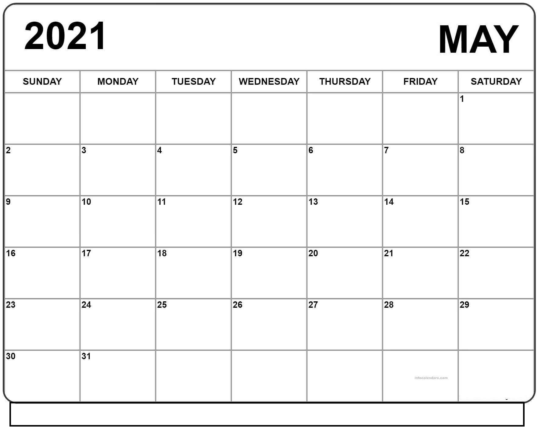 May 2021 Editable Calendar For Schedule