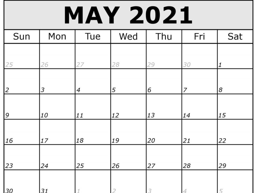 Monthly May 2021 Calendar