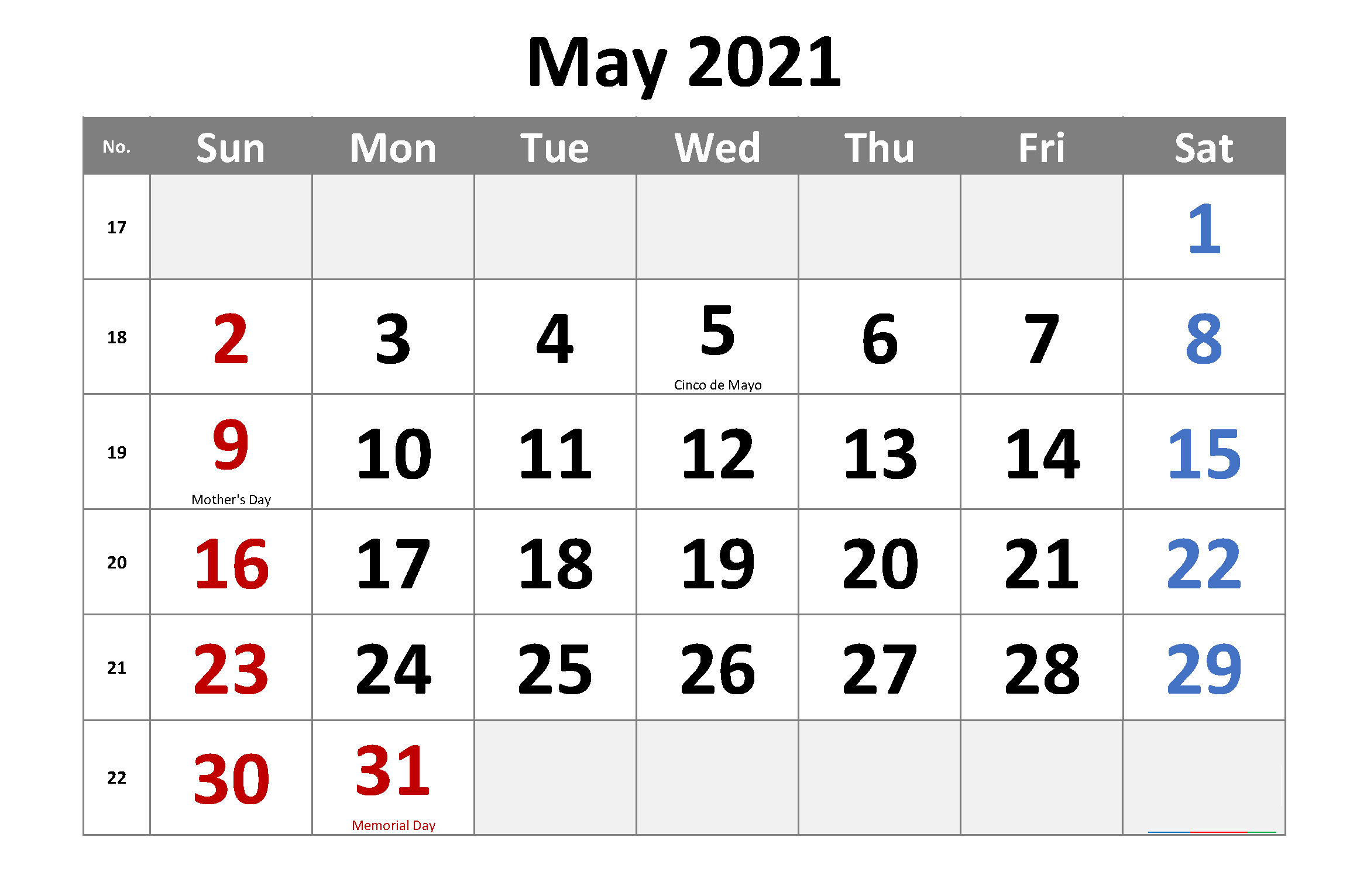 Monthly May 2021 Calendar Holidays
