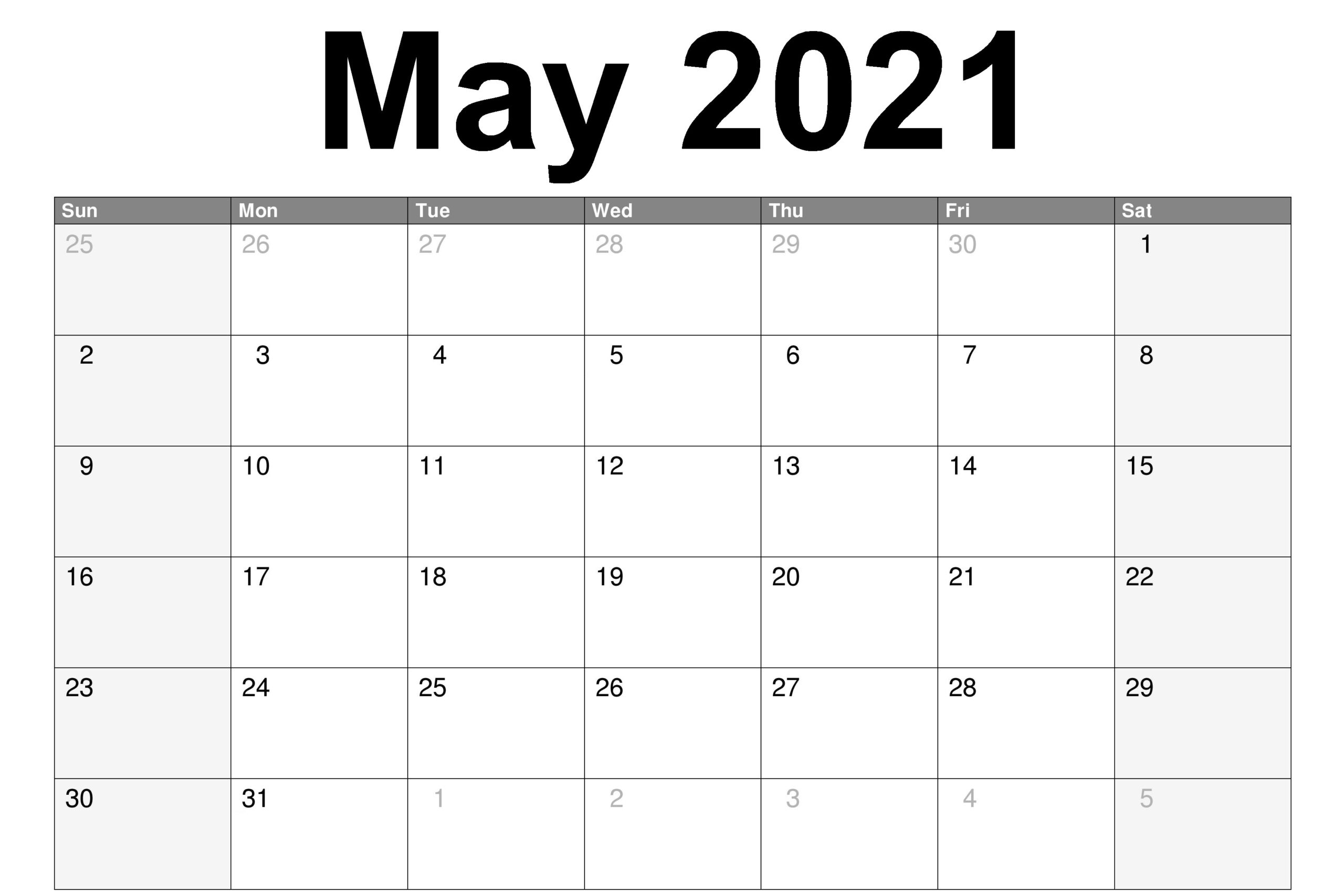 Monthly May 2021 Calendar Sheet