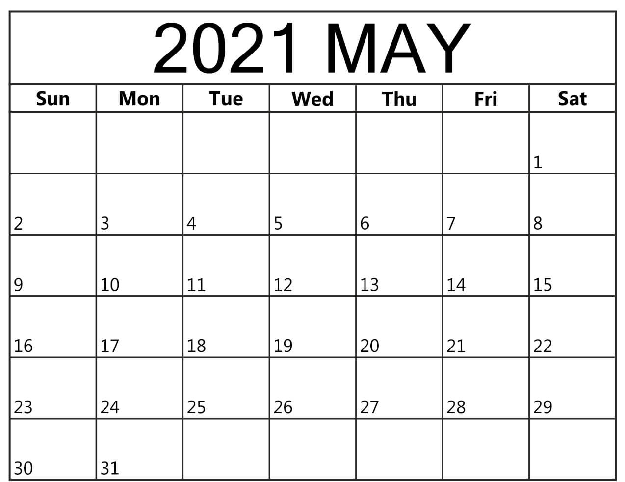 Monthly May 2021 Calendar Template
