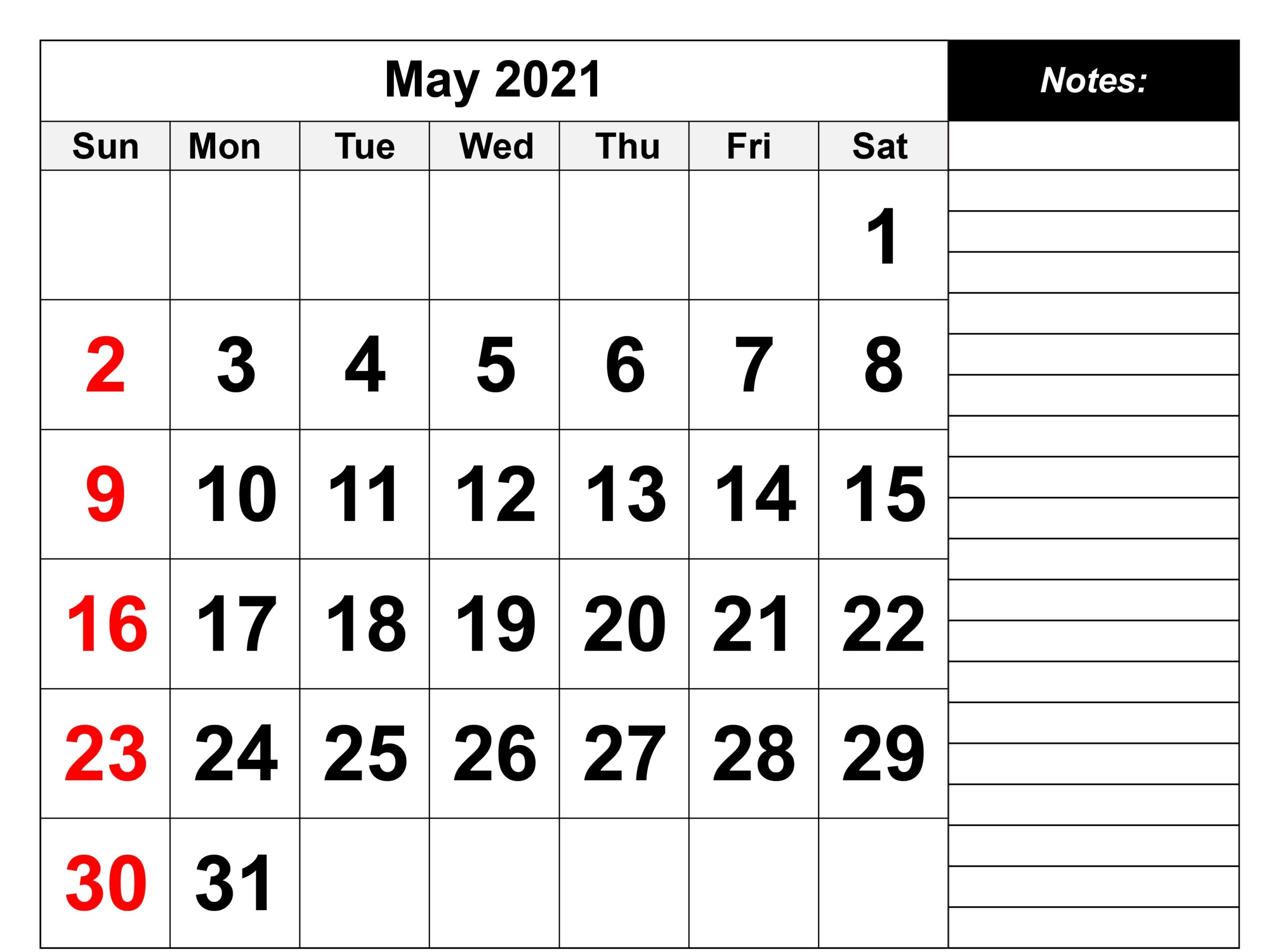 Monthly May 2021 Calendar with Note