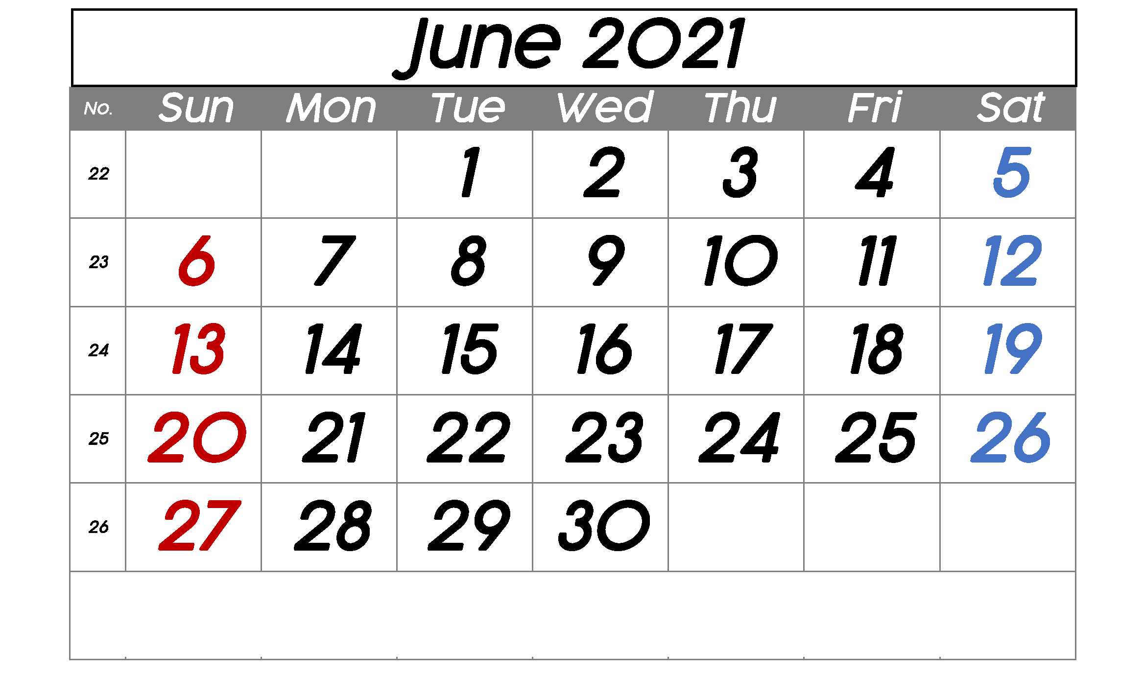 Printable June 2021 Calendar Cute