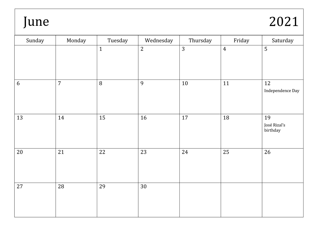 Printable June 2021 Calendar Monthly