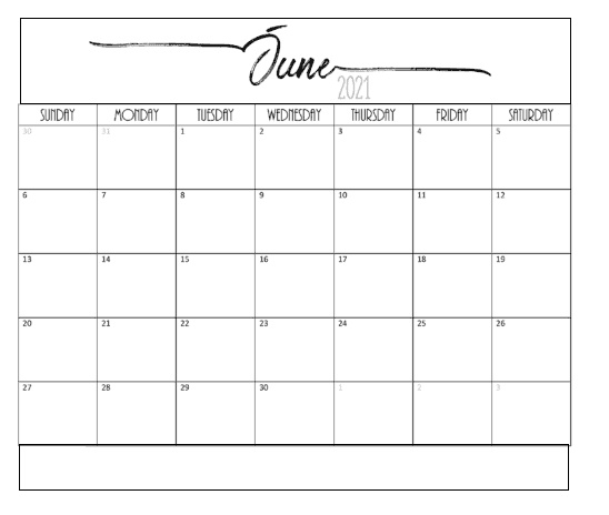 Printable June 2021 Calendar Template