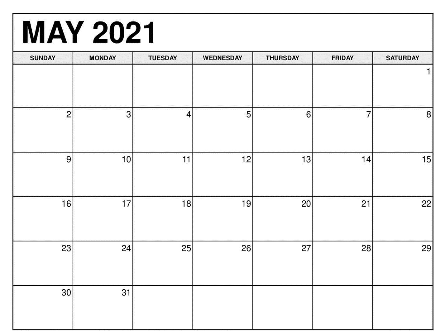 Printable May 2021 Calendar Daily