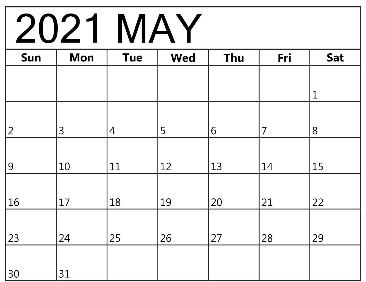 Printable May 2021 Calendar For schedule