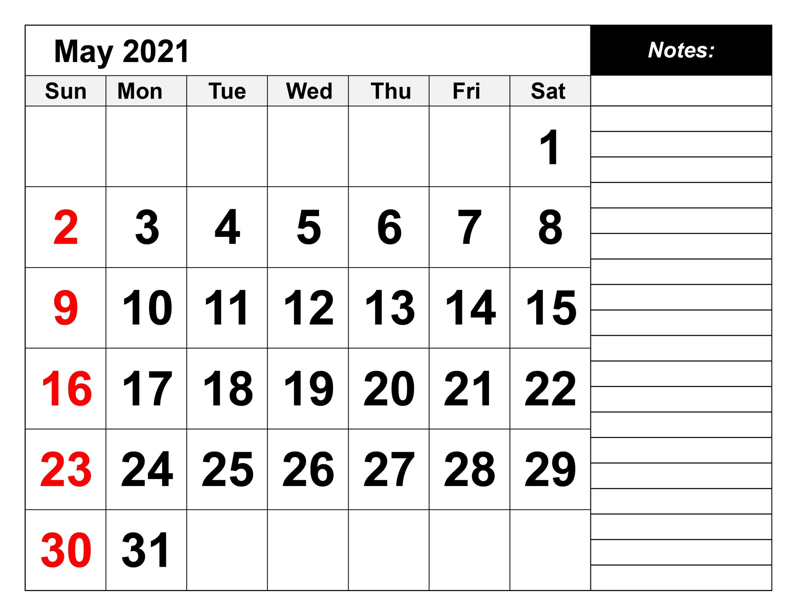 Printable May 2021 Calendar For Trip