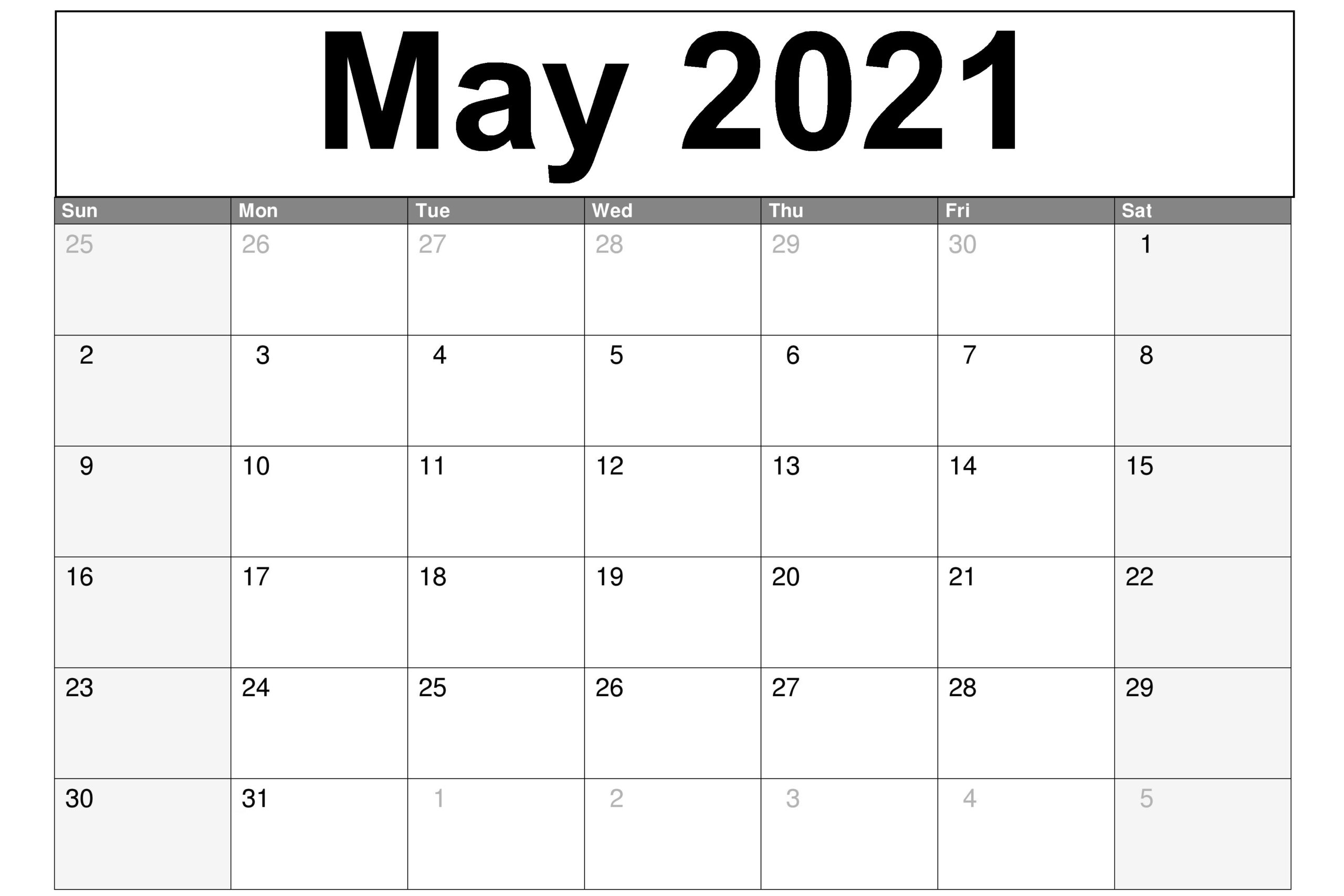 Printable May 2021 Calendar Monthly Planner