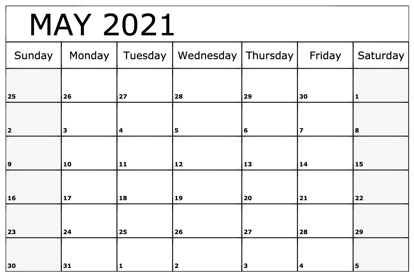 Printable May 2021 Calendar Notes