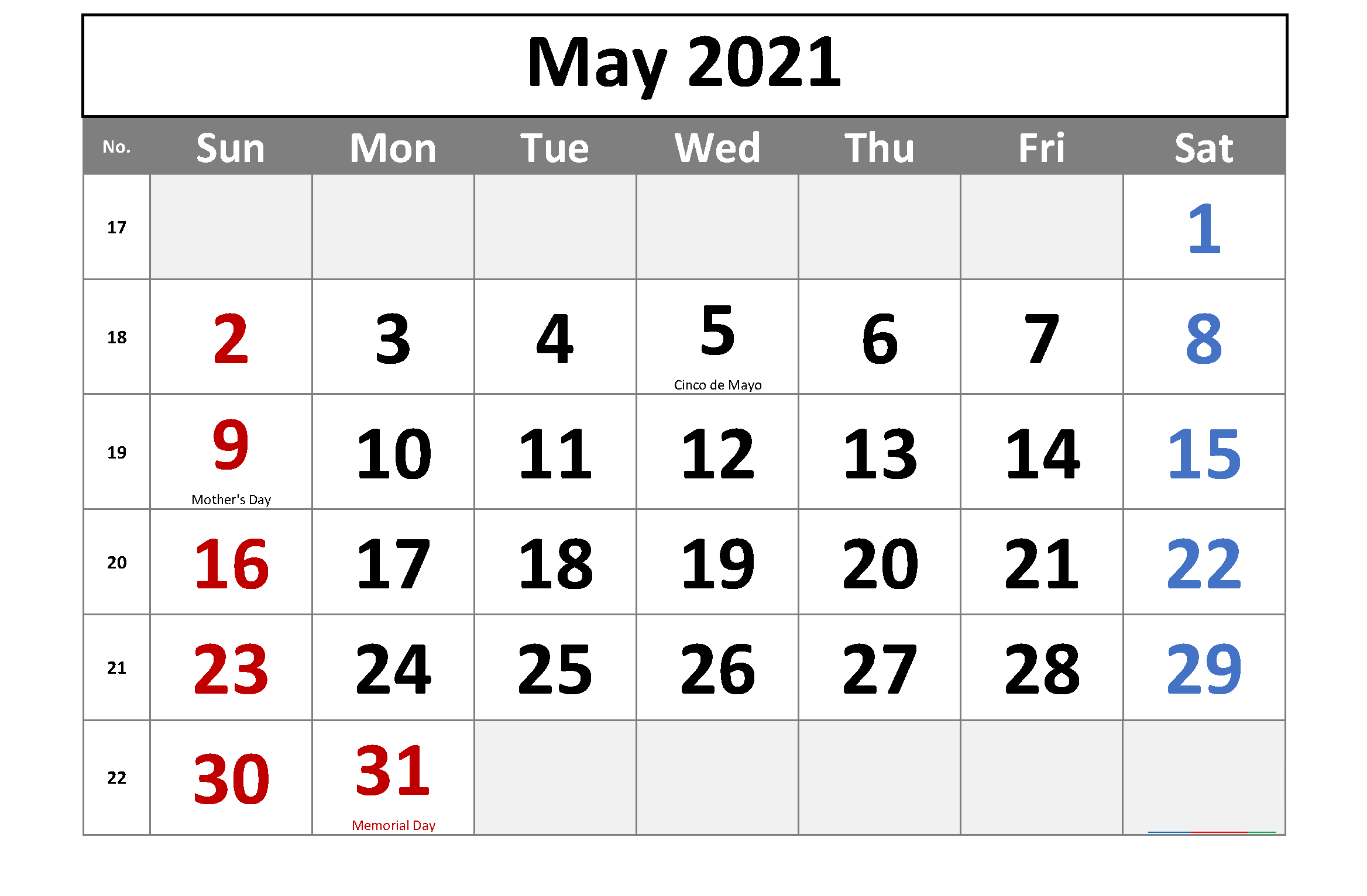 Printable May 2021 Calendar School Holidays