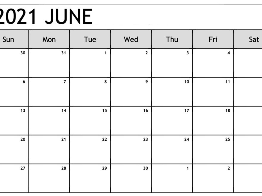Save June 2021 Calendar Word