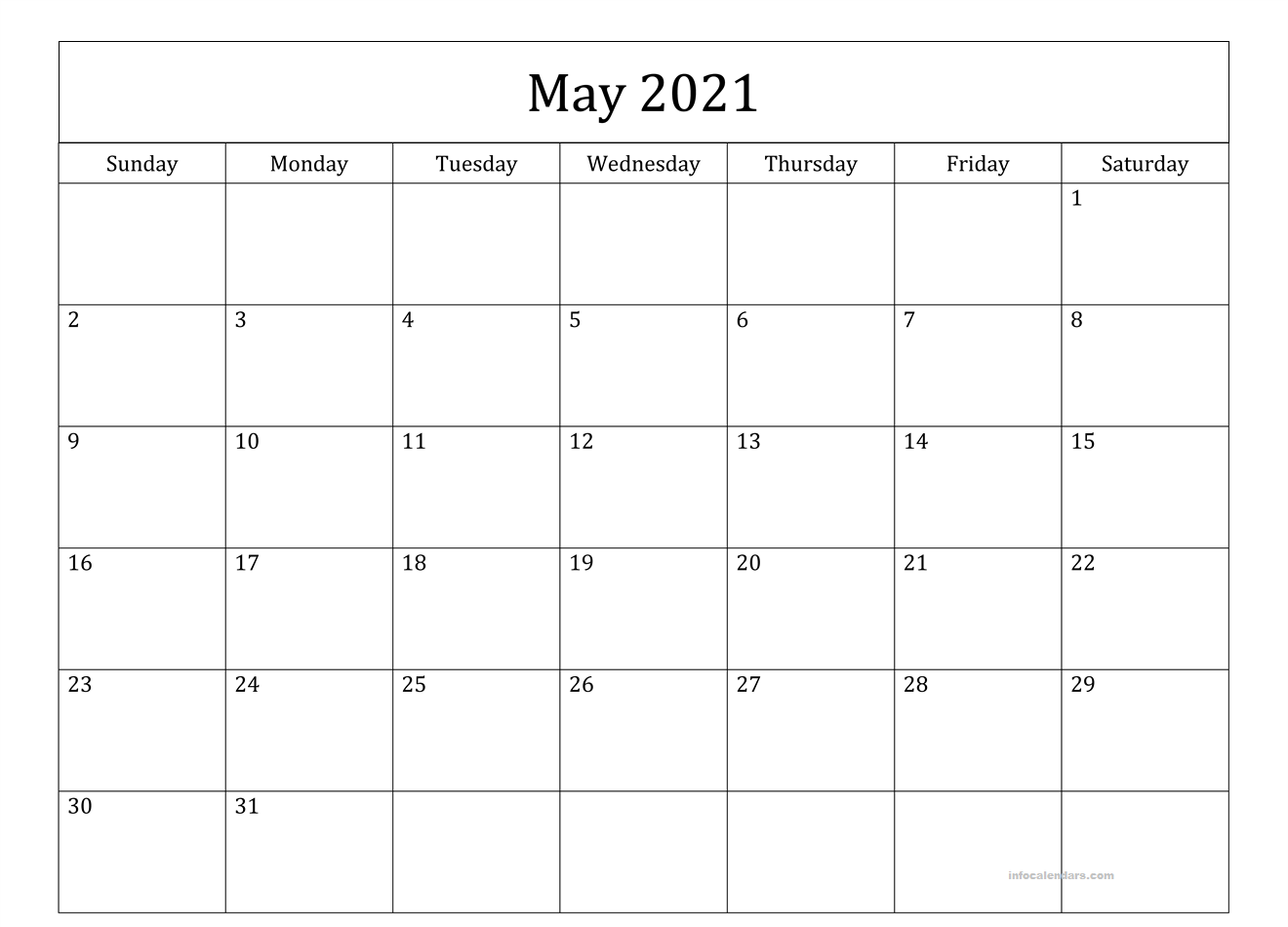 Word May 2021 Calendar With Holidays